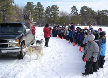 Atii Sled Dogs at a school program in 2005.